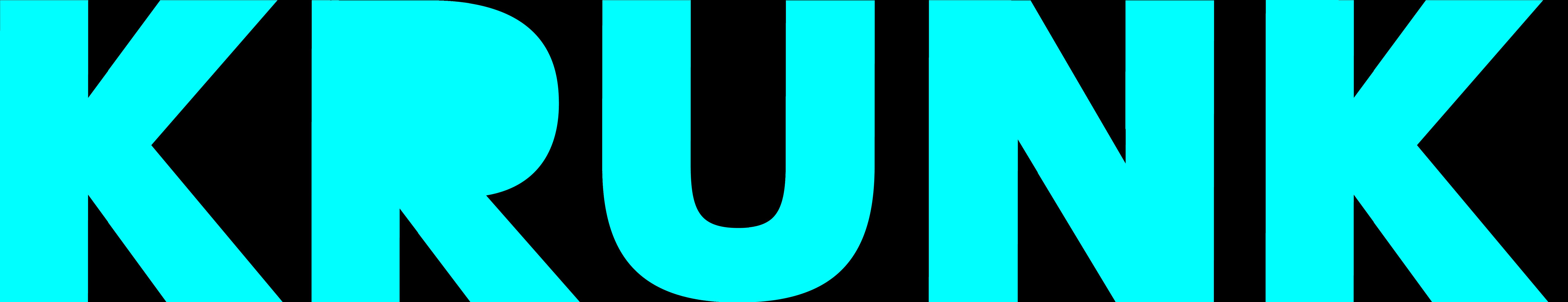 KRUNK mag Logo in Cyan Schrift und Grossbuchstaben