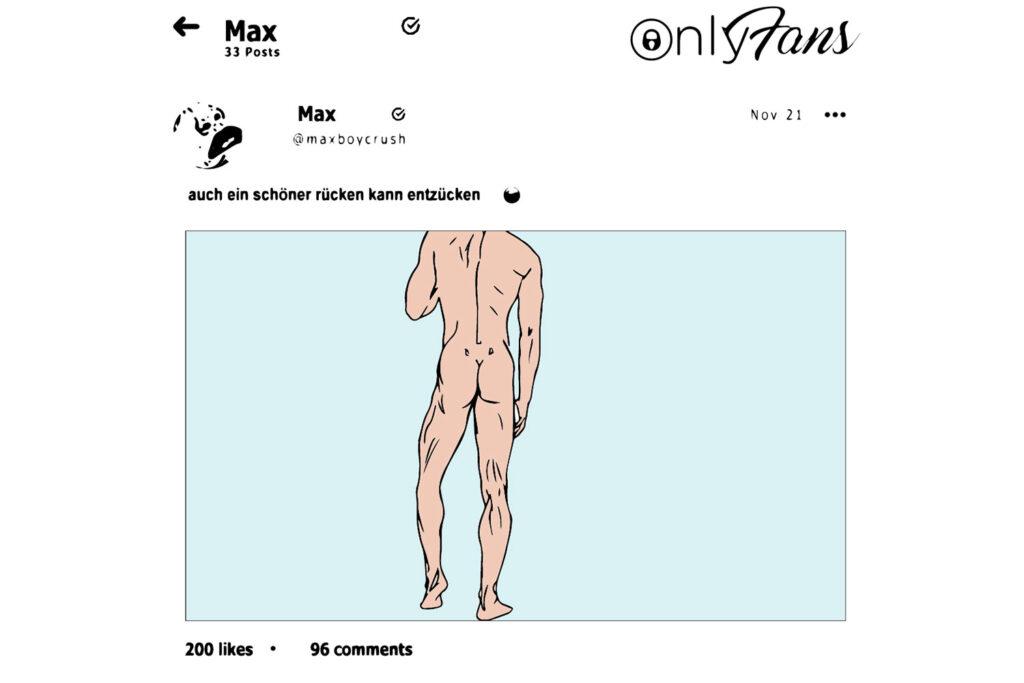Illustration einer Only-Fans Seite, junger, anonymer Männerkörper