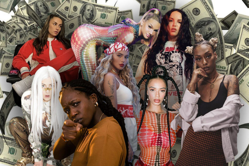 Schwesta Ewa, Shirin David, Nura, Juju, Die P, Haiyiti, Loredana und LAYLA in einer Collage mit Dollarscheinen im HIntergrund