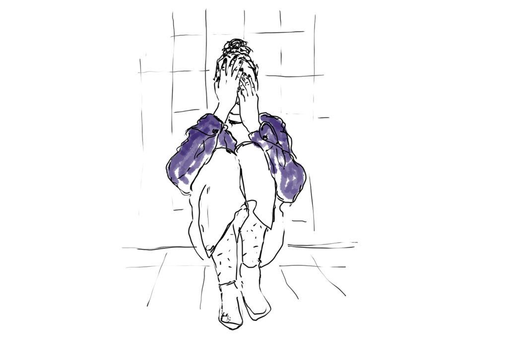 Illustration von Mädchen, dass sich am Boden sitzend das Gesicht verdeckt